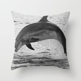 Jumping wild bottlenose dolphin black and white Throw Pillow