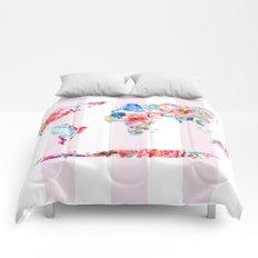 Floral World - Pink Stripe Comforters