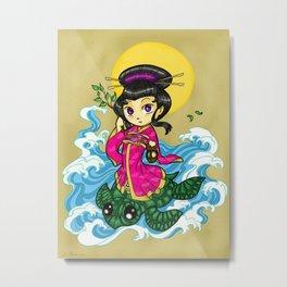 Chibi Quan Yin Metal Print