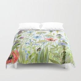 Floral Watercolor Botanical Cottage Garden Flowers Bees Nature Art Duvet Cover