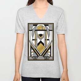 Up and Away - Art Deco Spaceman Unisex V-Neck