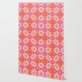 Flowers in Pink Orange and  White Wallpaper
