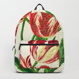 Red Tulips Calligraphy Backpack