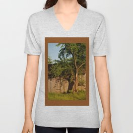 Dilapidated old wooden shack and tree shadow Unisex V-Neck