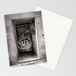 Graffiti on Urban Door in Black and White Stationery Cards