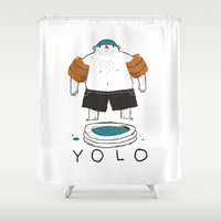 yolo Shower Curtains featuring yolo by Louis Roskosch