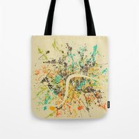 london map Tote Bags featuring LONDON MAP by Nicksman