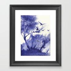 blaue Vögel Framed Art Print
