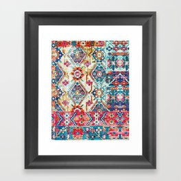 N245 - Vintage Oriental Bohemian Colored Traditional Moroccan Fabric Style Framed Art Print