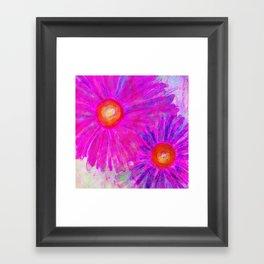 Bright Pink Sketch Flowers Framed Art Print