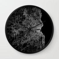milwaukee Wall Clocks featuring milwaukee map by Line Line Lines