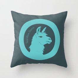 Teal-Blue Llama Throw Pillow