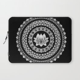 Black and White Lotus Mandala Laptop Sleeve