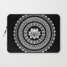 Black and White Lotus Mandala Laptop Sleeve