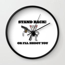 Unique & Funny Ringtail Cat Tshirt Design Stand Back Wall Clock