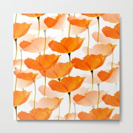 Orange Poppies On A White Background #decor #society6 #buyart Metal Print