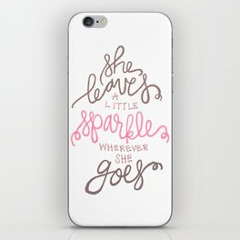 She Leaves A Little Sparkle -  Pink / Black iPhone Skin