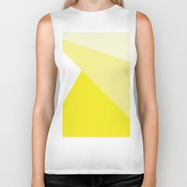 Simple Geometric Triangle Pattern - White on Yellow - Mix & Match with Simplicity of life Biker Tank