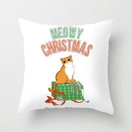 Meowy Christmas Orange Tabby Cat T-Shirt xmas Santa Claws Throw Pillow