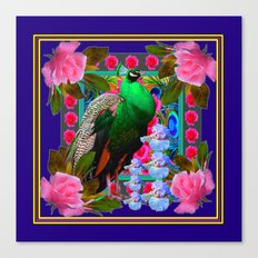 INDIGO & PINK-RED  ROSES GREEN PEACOCK IRIS FLORAL Canvas Print