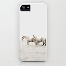 White Camargue Horses - Minimalist Nature Photography iPhone Case