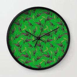 Classy stylish elegant timeless retro vintage dark green nature floral leaf patter. Botanical them Wall Clock