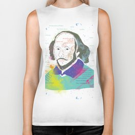 Portrait of William Shakespeare-Hand drawn Biker Tank