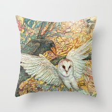 The Playground _ Raven, Owl, Chickadee Throw Pillow