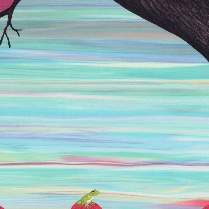 tree swallows in the stained glass tree with tulips and frogs Leggings
