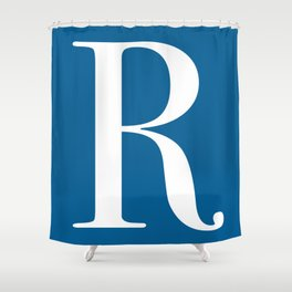 Serif R. White on Blue. Shower Curtain