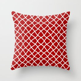 Classic red and white curved grid pattern Throw Pillow