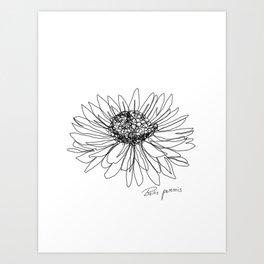 Continuous line Daisy/ Bellis Perennis Art Print