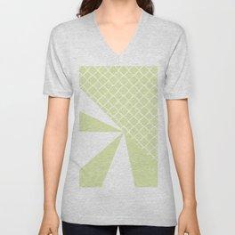 Geometric green white quatrefoil color block pattern Unisex V-Neck