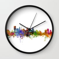 maryland Wall Clocks featuring Baltimore Maryland Skyline by artPause