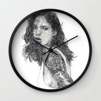 tattoos Wall Clocks featuring Lust & Tattoos by Art & Ink