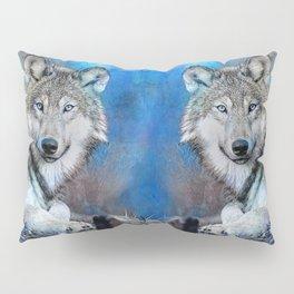 Blue Wolf Wildlife Mixed Media Art Pillow Sham