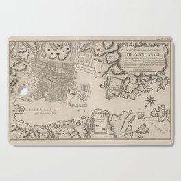 Vintage Map of Nagasaki Japan (1764) Cutting Board