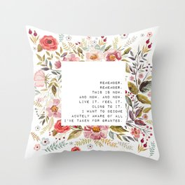 Remember, this is now - S. Plath Collection Throw Pillow