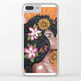 Summer Time Black Woman Clear iPhone Case