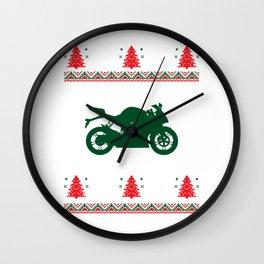 Motorist Motorcyclist Motorcycle Rider Motorbike Ugly Christmas Wall Clock