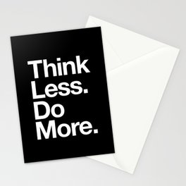 Think Less Do More Inspirational Wall Art black and white typography poster design home wall decor Stationery Cards