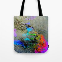 2pac Tote Bags featuring Urban Rainbow by a.rose