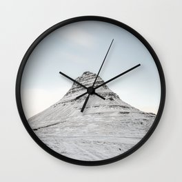 Mountain view at Mount Kirkjufell in Iceland Wall Clock