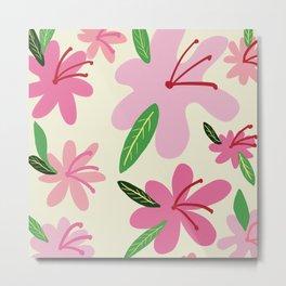 Bold flowers - Pink & Green  Metal Print