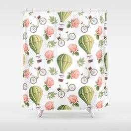 Bicycles Roses and Balloons Shower Curtain