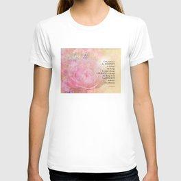 Serenity Prayer Pink Rose Floral Collage T-shirt