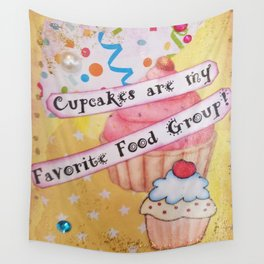 Cupcakes, Favorite Food Group, Mixed Media Art Wall Tapestry