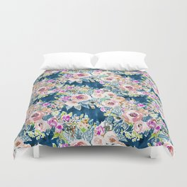 NAVY SO LUSCIOUS Colorful Watercolor Floral Duvet Cover