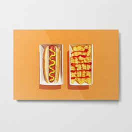 Hot Dog and French Fries Metal Print