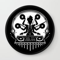 shiva Wall Clocks featuring Disco Shiva by starplexus